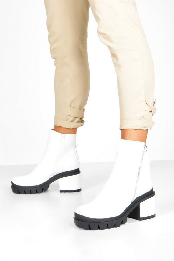 White Zip Side Chunky Platform Boots