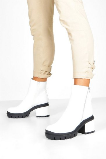 Womens White Zip Side Chunky Platform Boots