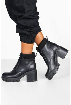 Dam Black Lace Up Chunky Platform Hiker Boots