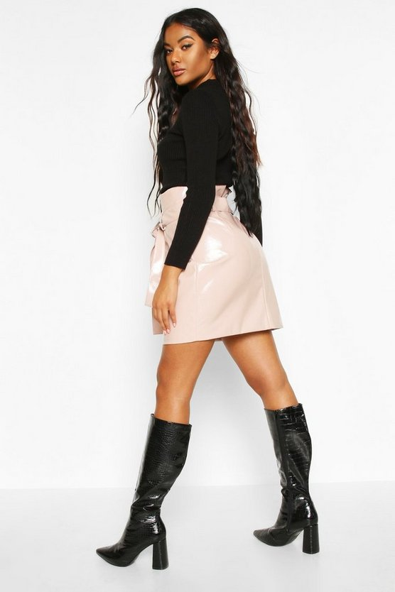 Leather Look Pu Tie Waist Mini Skirt