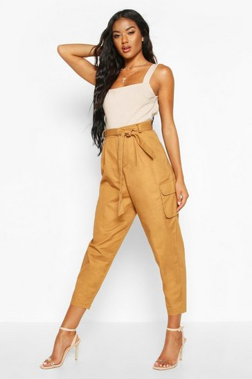 Womens Camel Tie Waist Pocket Detail Cargo Trousers