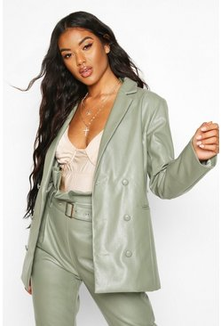Sage Leather Look Pu Blazer