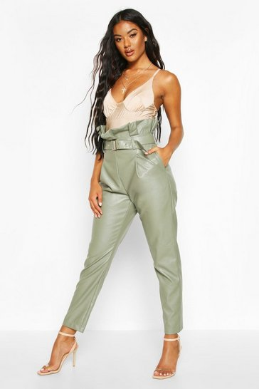 Womens Sage Leather Look Pu Paperbag Trousers