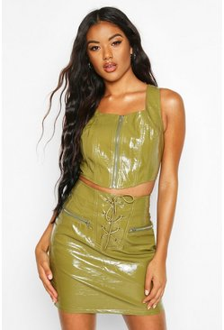 Womens Khaki Zip Front High Shine Leather Look Pu Crop Top