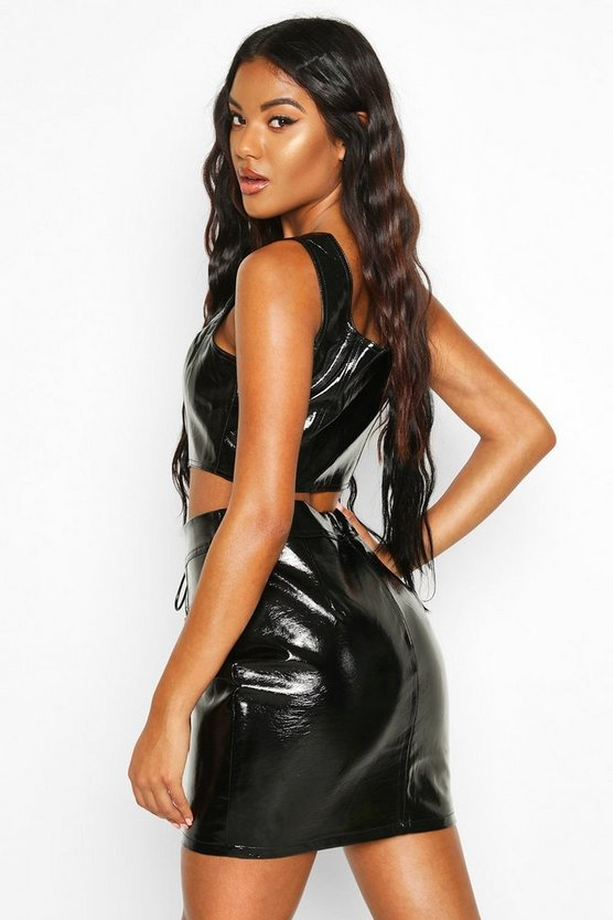 Lace Up Leather Look Pu Mini Skirt