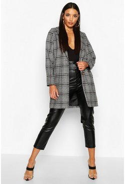 Blue Check Oversized Boyfriend Coat