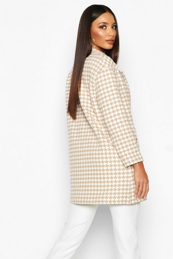 Dogtooth Double Breasted Wool Look Coat