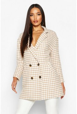 Womens Stone Dogtooth Double Breasted Wool Look Coat