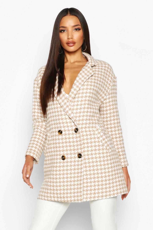 on sale 1f0b1 50452 Cappotto doppio petto effetto lana pied-de-poule | Boohoo