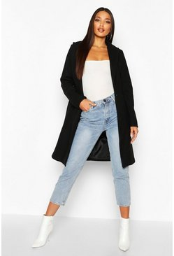 Womens Black Tailored Wool Look Coat
