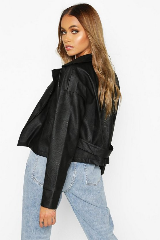 Covered Buckle Belted Faux Leather Jacket
