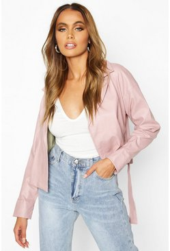 Dusky pink Covered Buckle Belted Faux Leather Jacket