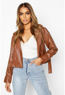Tan Covered Buckle Belted Faux Leather Jacket