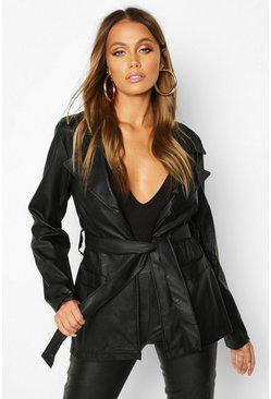 Womens Black Wrap Belted Faux Leather Jacket