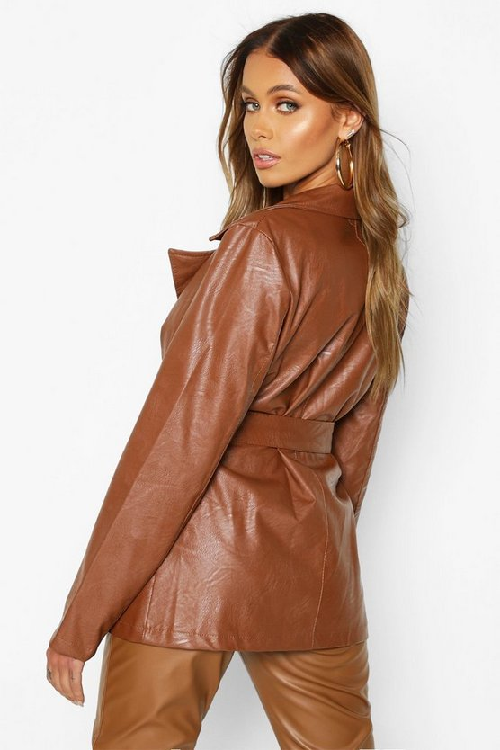 Wrap Belted Faux Leather Jacket