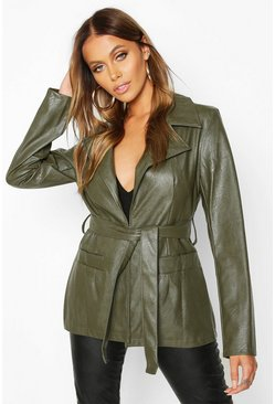 Womens Olive Wrap Belted Faux Leather Jacket