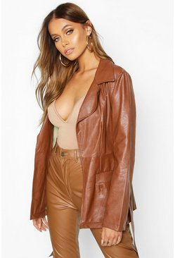Womens Tan Wrap Belted Faux Leather Jacket