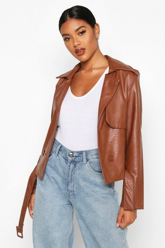 Tan Faux Leather Short Trench Coat