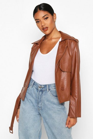 Womens Tan Faux Leather Short Trench Coat