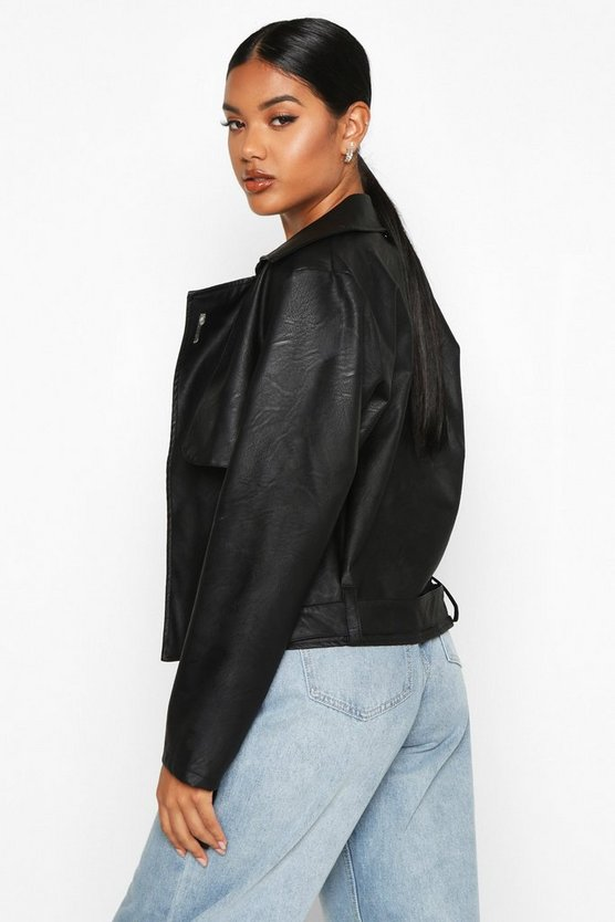 Faux Leather Short Trench Coat