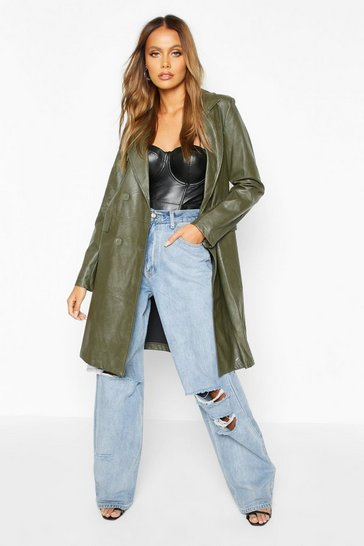 Womens Olive Faux Leather Double Breasted Coat