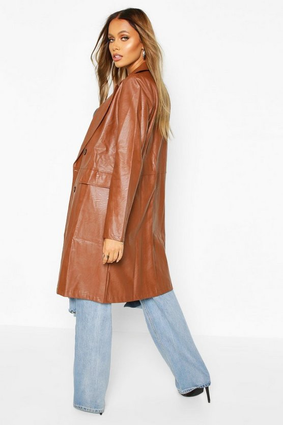 Faux Leather Double Breasted Coat