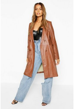 Womens Tan Faux Leather Double Breasted Coat