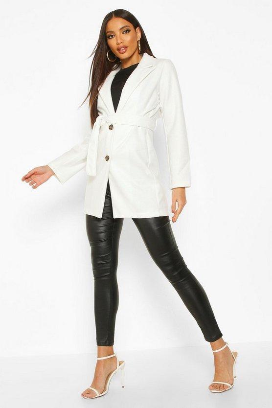 Belted Wool Look Blazer Coat