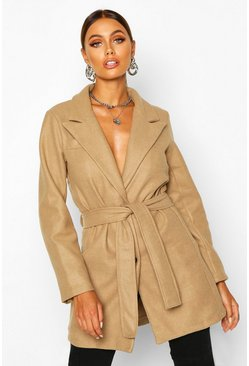Womens Stone Belted Wool Look Blazer Coat