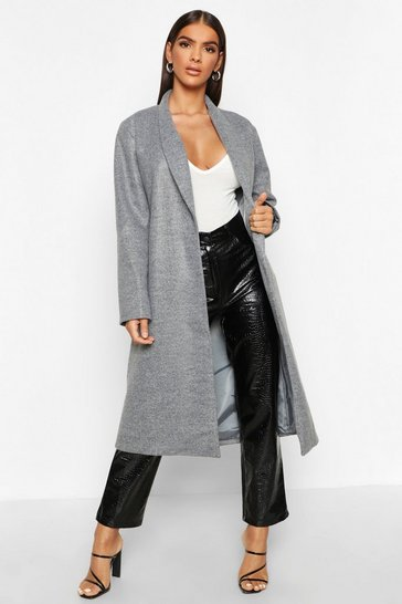 Womens Grey Shawl Collar Button Wool Look Coat