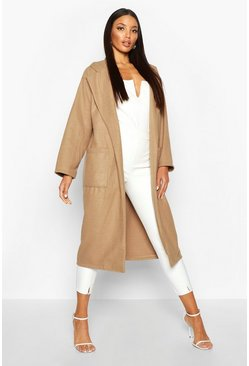 Womens Camel Oversized Patch Packet Wool Look Coat