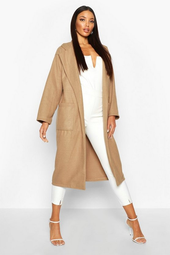 Oversized Patch Packet Wool Look Coat