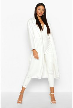 Womens Ivory Oversized Patch Packet Wool Look Coat