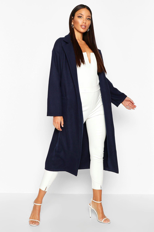 1920s Coats, Flapper Coats, 20s Jackets Oversized Patch Packet Wool Look Coat  AT vintagedancer.com