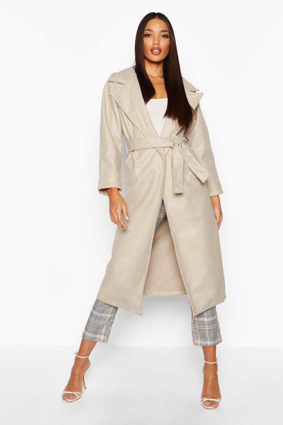 save off 852f6 a65eb Cappotto tonaca effetto lana con cintura
