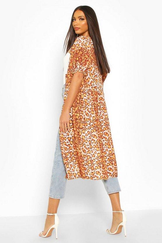 Leopard Print Puff Sleeve Kimono