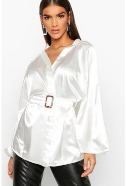 Womens Ivory Satin Belted Buckle Detail Kimono