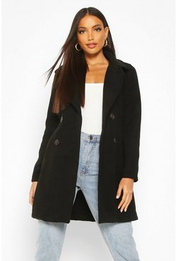 Black Double Breasted Collared Wool Look Coat