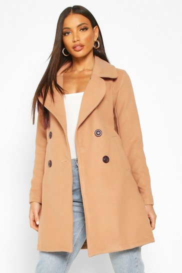 Camel Double Breasted Collared Wool Look Coat
