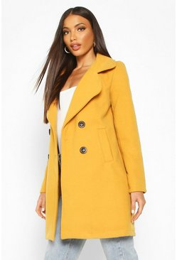 Mustard Double Breasted Collared Wool Look Coat