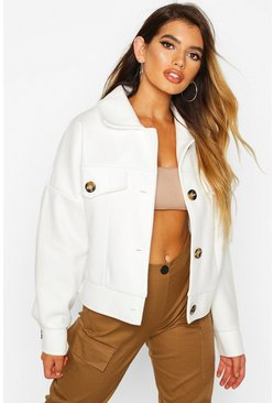 Ivory Wool Look Oversized Trucker Jacket