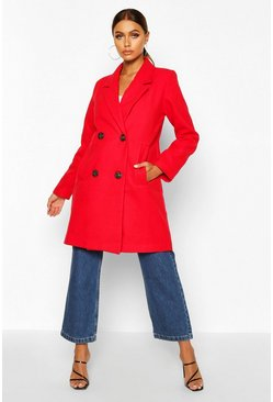 Red Double Breasted Slim Fit Wool Look Coat