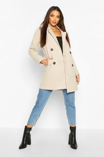 Stone Double Breasted Slim Fit Wool Look Coat