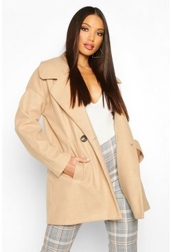 Womens Camel Oversized Collared Wool Look Coat