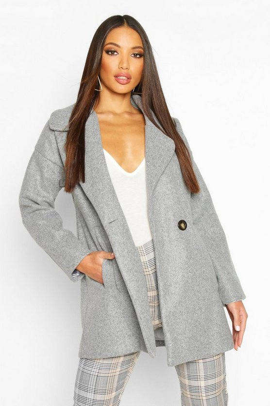 Oversized Collared Wool Look Coat