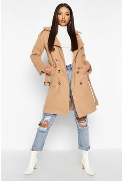 Womens Camel Double Breasted Trench Wool Look Coat