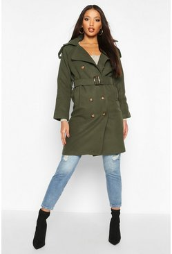 Womens Khaki Double Breasted Trench Wool Look Coat
