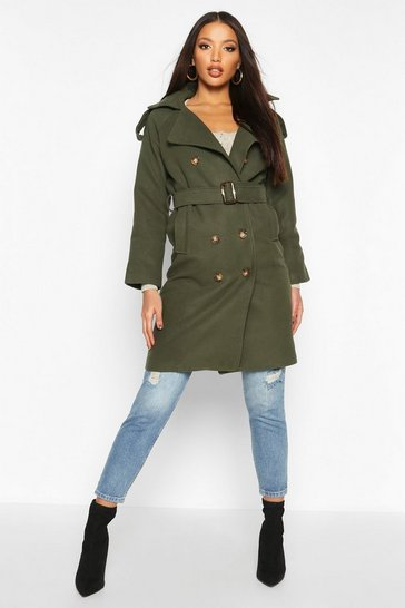 Khaki Double Breasted Trench Wool Look Coat
