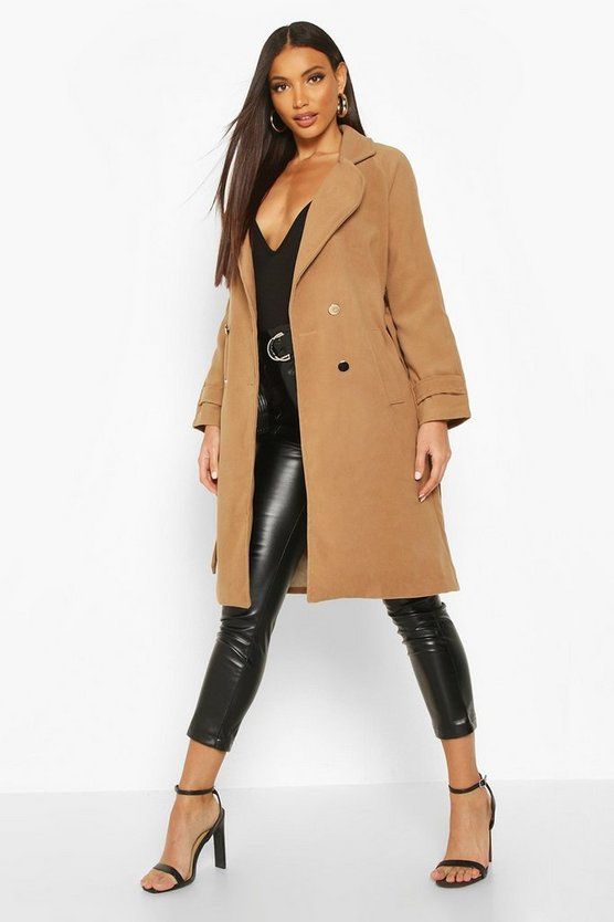 Camel Belted Military Double Breasted Trench Coat