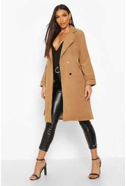 Womens Camel Belted Military Double Breasted Trench Coat